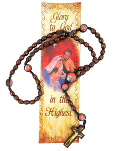 Wooden Prayer Bead 19 Inch Christmas Nativity Rosary with Holy Prayer Card