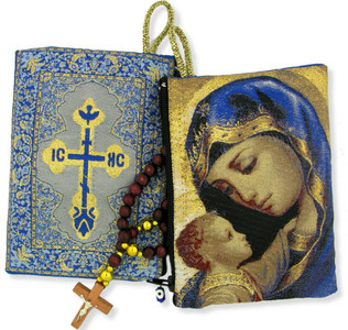 Religious Gift Blessed Virgin Mary Madonna & Child Icon Cloth Tapestry Rosary Zipper Close Pouch Keepsake Holder