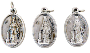 Lot of 3 Silver Tone Saint Barbara Patron of Architects 1 Inch Medal Pendant