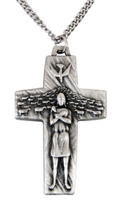 Pewter Good Shepherd Crucifix the Cross of Pope Francis, 1 1/2 Inch