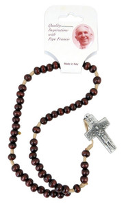 Wooden Prayer Bead Pope Francis 9 Inch Cord Rosary with Good Shepherd Crucifix