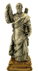 Pewter Saint St Andrew Figurine Statue on Gold Tone Base, 4 1/2 Inch