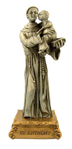 Pewter Saint St Anthony Figurine Statue on Gold Tone Base, 4 1/2 Inch