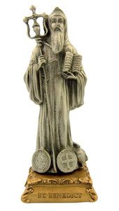 Pewter Saint St Benedict Figurine Statue on Gold Tone Base, 4 1/2 Inch
