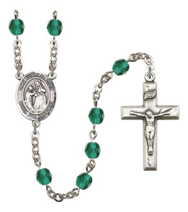 December Birthstone Prayer Bead Rosary with San Juan de Dios Centerpiece, 19 Inch