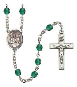 December Birthstone Prayer Bead Rosary with San Judas Centerpiece, 19 Inch