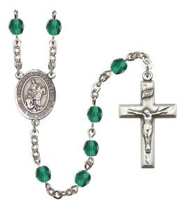 December Birthstone Prayer Bead Rosary with San Martin Caballero Centerpiece, 19 Inch