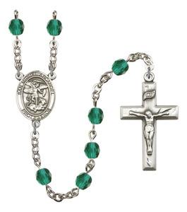 December Birthstone Prayer Bead Rosary with San Miguel Arcangel Centerpiece, 19 Inch