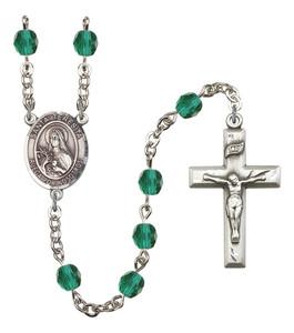 December Birthstone Prayer Bead Rosary with Santa Teresita Centerpiece, 19 Inch