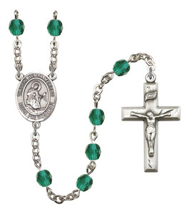 December Birthstone Prayer Bead Rosary with Virgen de la Merced Centerpiece, 19 Inch