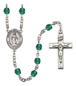 December Birthstone Prayer Bead Rosary with Virgen Milagrosa Centerpiece, 19 Inch