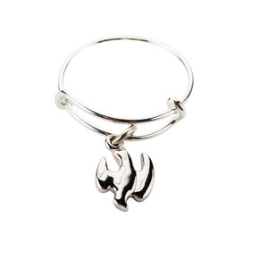 Ladies Sterling Silver Bangle Ring with Holy Spirit Dove Medal Charm, One Size