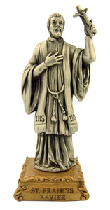 Pewter Saint St Francis Xavier Figurine Statue on Gold Tone Base, 4 1/2 Inch