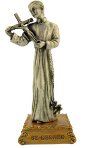 Pewter Saint St Gerard Figurine Statue on Gold Tone Base, 4 1/2 Inch