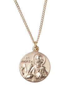 12kt Gold Filled Dime Size Saint Andrew Medal, 3/4 Inch