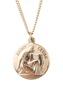 12kt Gold Filled Dime Size Saint Cecile Medal, 3/4 Inch
