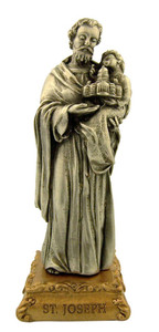 Pewter Saint St Joseph Figurine Statue on Gold Tone Base, 4 1/2 Inch