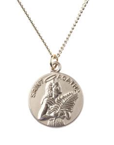 12kt Gold Filled Dime Size Saint Agatha Medal, 3/4 Inch