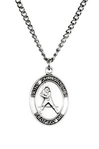 Mens Sterling Silver Saint Christopher Sports Athlete Medal, 1 Inch - Baseball