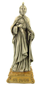 Pewter Saint St Jude Figurine Statue on Gold Tone Base, 4 1/2 Inch