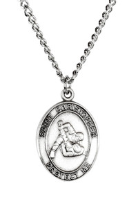 Mens Sterling Silver Saint Christopher Sports Athlete Medal, 1 Inch - Wrestling