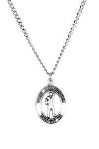 Mens Sterling Silver Saint Christopher Sports Athlete Medal, 1 Inch - Volleyball
