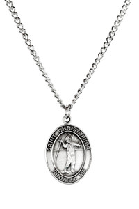 Mens Sterling Silver Saint Christopher Sports Athlete Medal, 1 Inch - Fishing