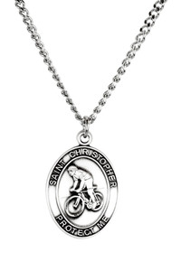 Mens Sterling Silver Saint Christopher Sports Athlete Medal, 1 Inch - Biking