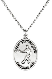 Ladies Sterling Silver Saint Christopher Sports Athlete Medal, 7/8 Inch - Softball