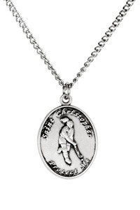 Ladies Sterling Silver Saint Christopher Sports Athlete Medal, 7/8 Inch - Field Hockey
