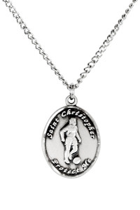 Ladies Sterling Silver Saint Christopher Sports Athlete Medal, 7/8 Inch - Soccer