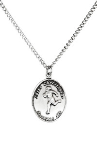 Ladies Sterling Silver Saint Christopher Sports Athlete Medal, 7/8 Inch - Track