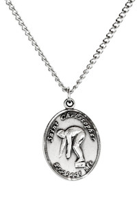Ladies Sterling Silver Saint Christopher Sports Athlete Medal, 7/8 Inch - Swimming