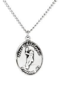 Ladies Sterling Silver Saint Christopher Sports Athlete Medal, 7/8 Inch - Tennis