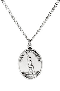 Ladies Sterling Silver Saint Christopher Sports Athlete Medal, 7/8 Inch - Gymnastics