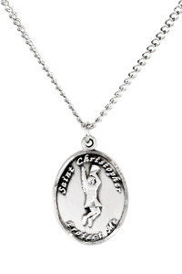 Ladies Sterling Silver Saint Christopher Sports Athlete Medal, 7/8 Inch - Cheerleading
