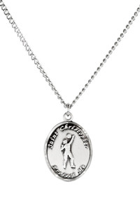 Ladies Sterling Silver Saint Christopher Sports Athlete Medal, 7/8 Inch - Volleyball