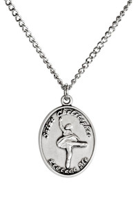 Ladies Sterling Silver Saint Christopher Sports Athlete Medal, 7/8 Inch - Ballet