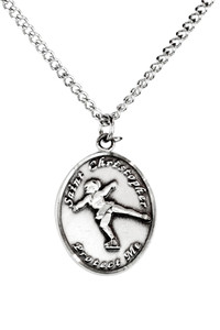Ladies Sterling Silver Saint Christopher Sports Athlete Medal, 7/8 Inch - Figure Skating