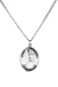 Ladies Sterling Silver Saint Christopher Sports Athlete Medal, 7/8 Inch - Lacrosse
