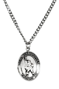 Mens Pewter Saint Christopher Sports Athlete Medal, 1 Inch - Basketball