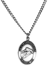 Mens Pewter Saint Christopher Sports Athlete Medal, 1 Inch - Snowboarding