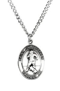Mens Pewter Saint Christopher Sports Athlete Medal, 1 Inch - Skateboarding
