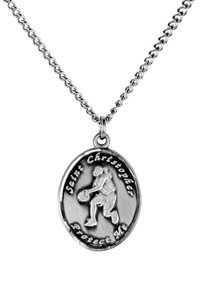 Ladies Pewter Saint Christopher Sports Athlete Medal, 7/8 Inch - Basketball