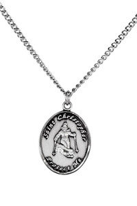 Ladies Pewter Saint Christopher Sports Athlete Medal, 7/8 Inch - Skiing