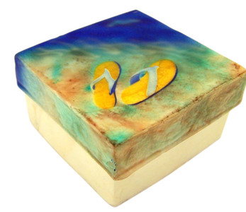 Capiz Shell Jewelry Trinket or Keepsake Box with Lid, 3 Inch - Flip Flops