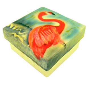 Capiz Shell Jewelry Trinket or Keepsake Box with Lid, 3 Inch - Flamingo