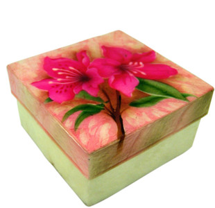 Capiz Shell Jewelry Trinket or Keepsake Box with Lid, 3 Inch - Azalea Flower
