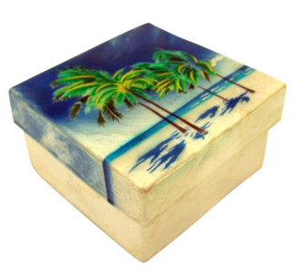 Capiz Shell Jewelry Trinket or Keepsake Box with Lid, 3 Inch - Beach Palmtrees