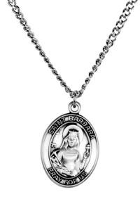 Sterling Silver Catholic Patron Saint Barbara Medal Pendant, 1 Inch
